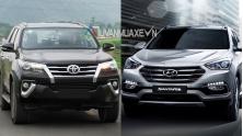 So sanh xe Hyundai SantaFe va Toyota Fortuner 2017