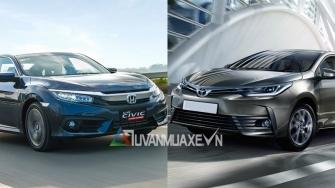 So sanh xe Honda Civic va Toyota Altis 2018