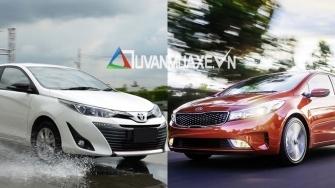 so sanh xe KIA Cerato 1.6AT va Toyota Vios G 2018-2019 moi