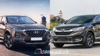 So sanh xe Hyundai SantaFe 2019 va Honda CR-V 2019 tai Viet Nam