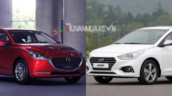 So sanh xe Hyundai Accent va Mazda 2 Sedan 2020 moi