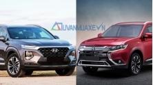So sanh xe Hyundai SantaFe va Mitsubishi Outlander 2020