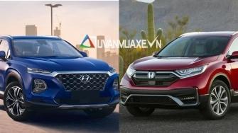 So sanh xe Hyundai SantaFe va Honda CR-V 2020 moi