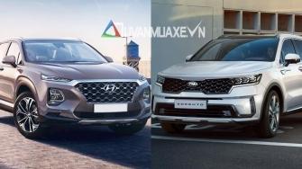 So sanh xe Hyundai SantaFe va KIA Sorento 2021 moi