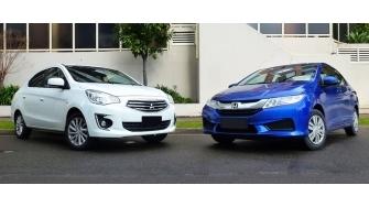 So sanh xe Mitsubishi Attrage va Honda City 2016 ban CVT