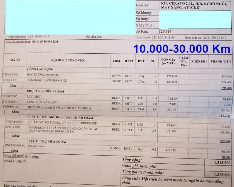 Chi phí bảo dưỡng định kỳ xe KIA Cerato theo các mốc KM - Ảnh 4