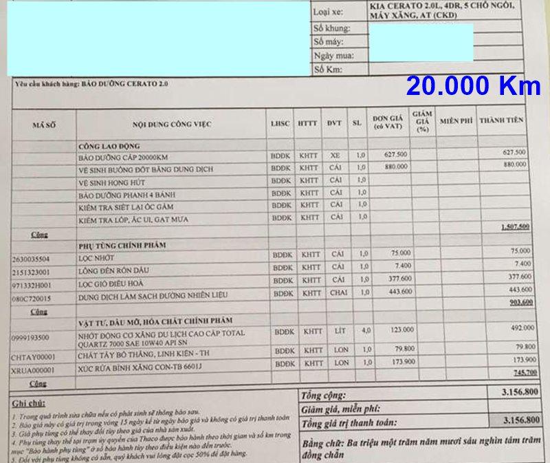 Chi phí bảo dưỡng định kỳ xe KIA Cerato theo các mốc KM - Ảnh 6