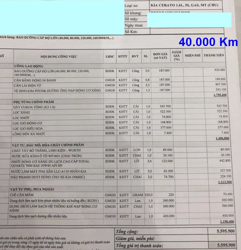 Chi phí bảo dưỡng định kỳ xe KIA Cerato theo các mốc KM - Ảnh 8