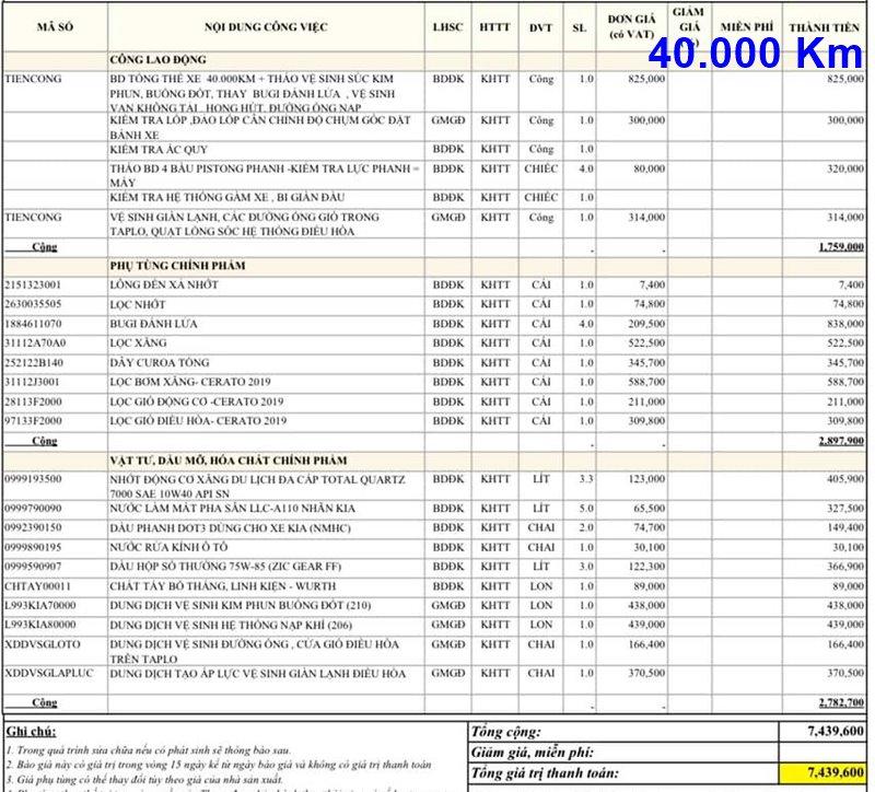 Chi phí bảo dưỡng định kỳ xe KIA Cerato theo các mốc KM - Ảnh 9
