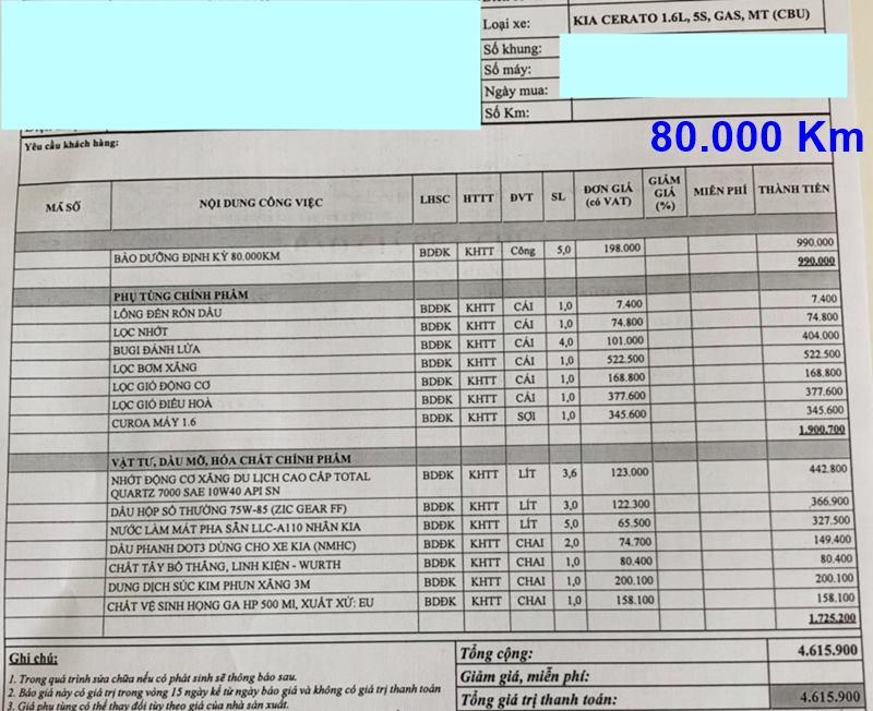 Chi phí bảo dưỡng định kỳ xe KIA Cerato theo các mốc KM - Ảnh 10