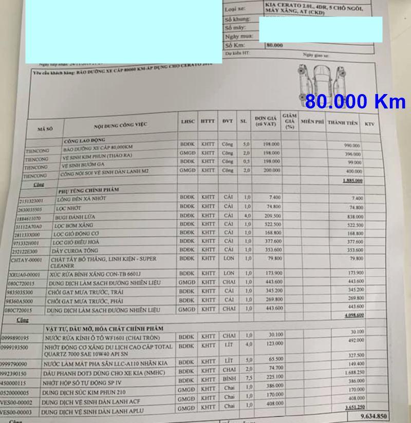 Chi phí bảo dưỡng định kỳ xe KIA Cerato theo các mốc KM - Ảnh 11