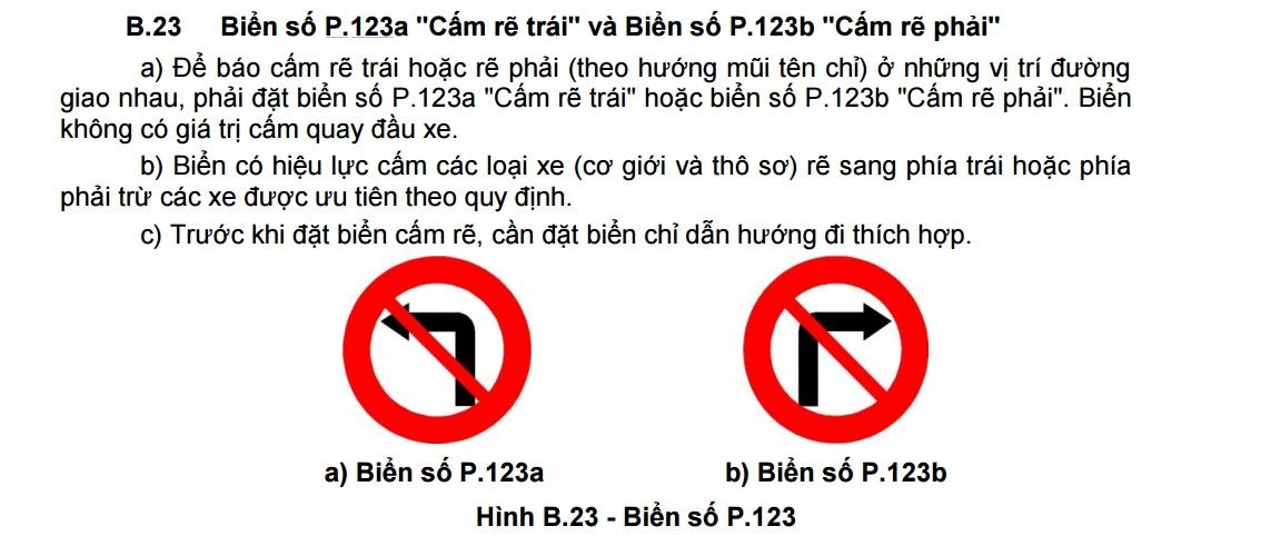 Biển báo P.103c, P.123a cấm rẽ trái không cấm quay đầu xe ô tô - Ảnh 2