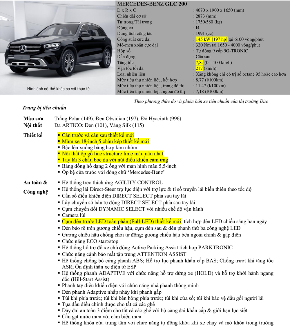 Thông số kỹ thuật và trang bị xe Mercedes GLC 200 2020 tại Việt Nam - Ảnh 10