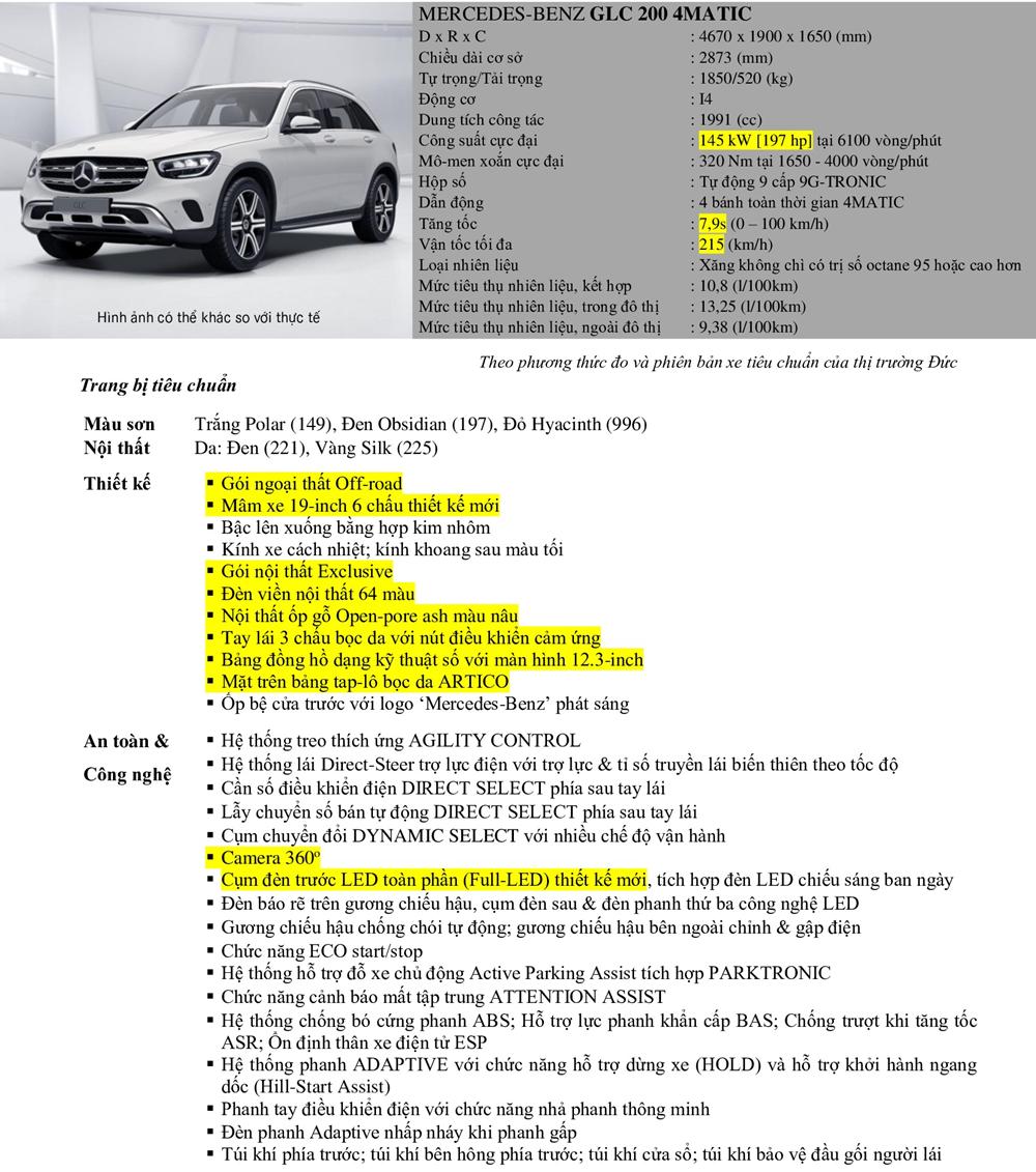 Thông số kỹ thuật và trang bị xe Mercedes GLC 200 2020 tại Việt Nam - Ảnh 15