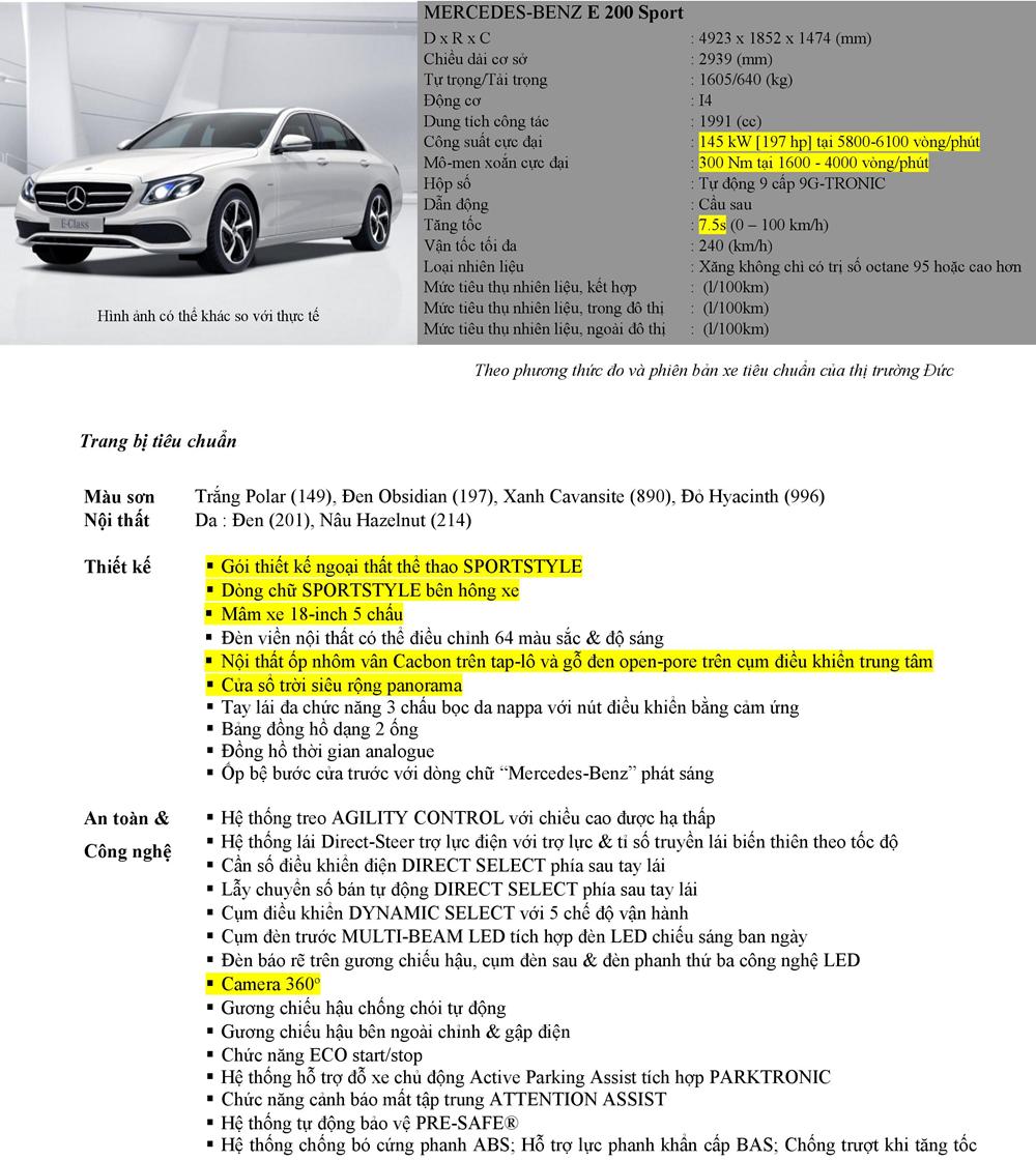 Thông số kỹ thuật và trang bị xe Mercedes E-Class 2019 tại Việt Nam - Ảnh 8