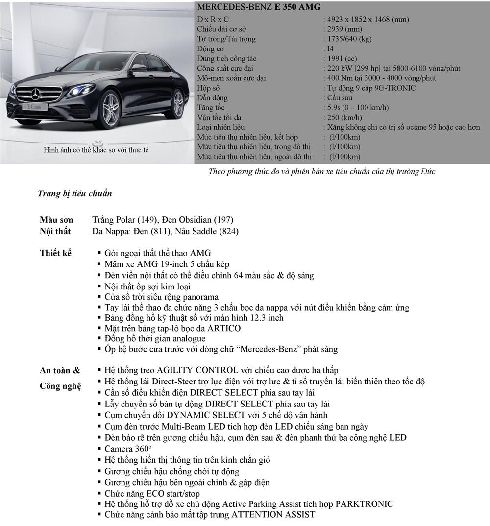 Thông số kỹ thuật và trang bị xe Mercedes E-Class 2019 tại Việt Nam - Ảnh 12