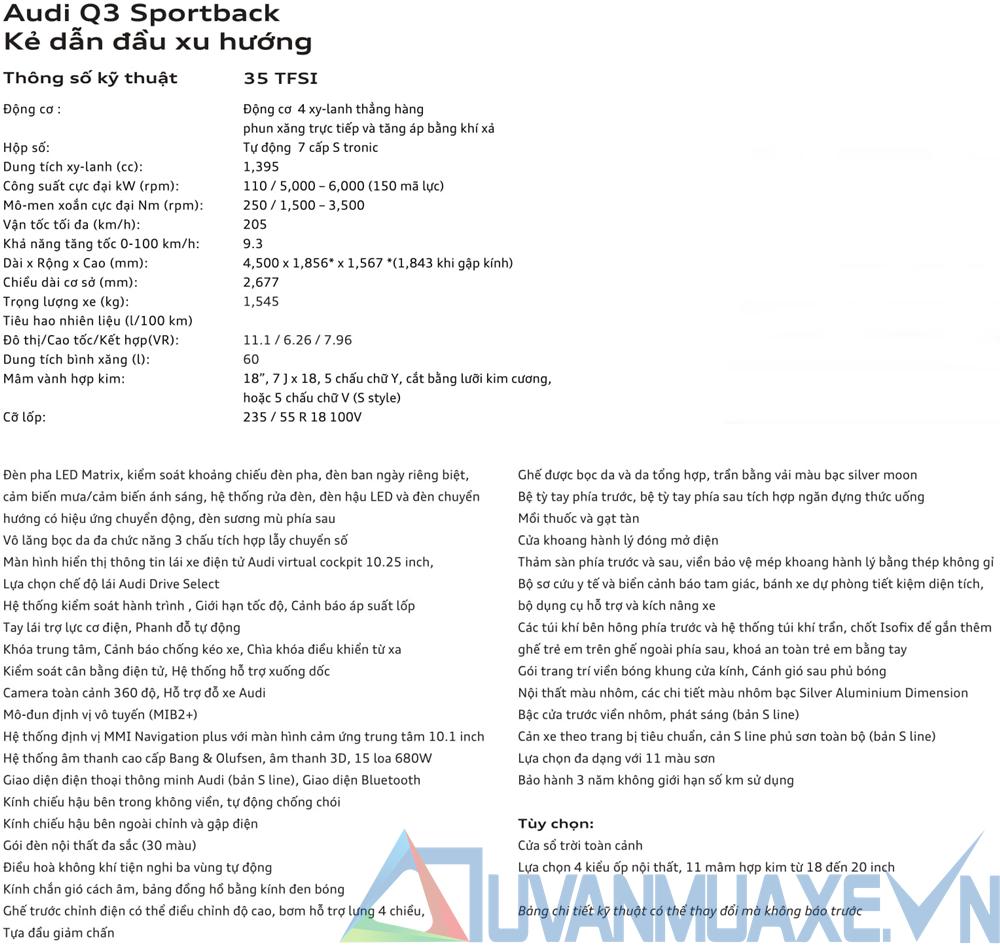 Thông số kỹ thuật và trang bị xe Audi Q3 Sportback 2021 - Ảnh 8